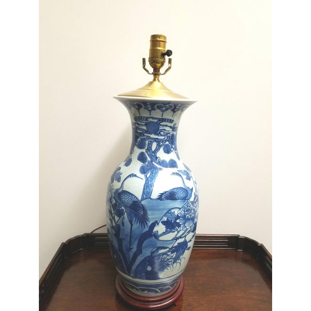 Vintage Chinese Hand Painted Blue and White Table Lamp With Cranes and Flowers For Sale In Philadelphia - Image 6 of 6