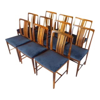MidCentury Swedish Modern Linde Nilsson Rosewood Dining Chairs - Set of 10 For Sale