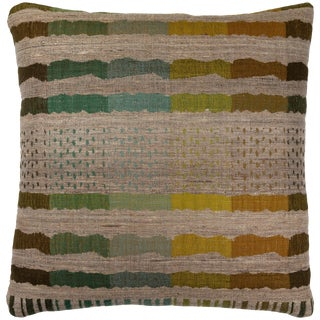 Indian Handwoven Pillow Bauhaus Green For Sale