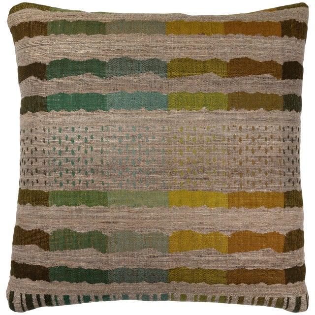 Indian Handwoven Pillow Bauhaus Green For Sale