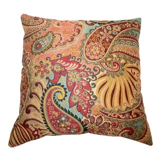 Late 20th C. Vintage Red & Gold Luxury Paisley Pattern Pillow For Sale