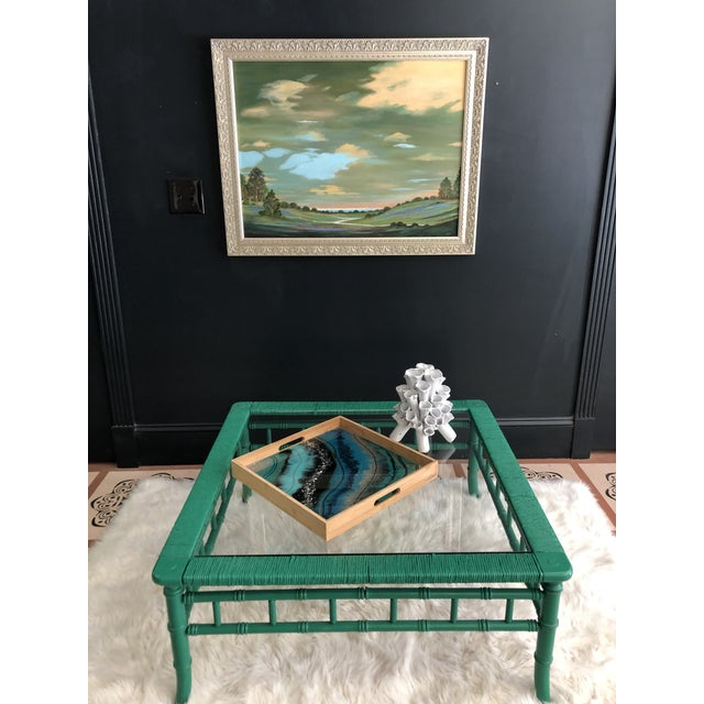 Emerald Emerald Green Bamboo Rattan Coffee Table For Sale - Image 8 of 11