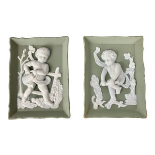 Rectangular Light Green Jasper Ware Plaques With Cherubs in White - a Pair For Sale