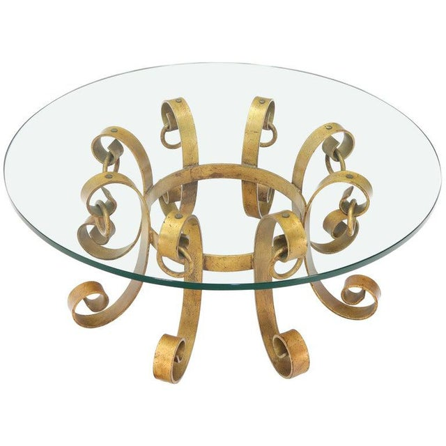 Round Decorative Gilt Wrought Iron Base Glass Top Sunburst Coffee Table For Sale - Image 13 of 13
