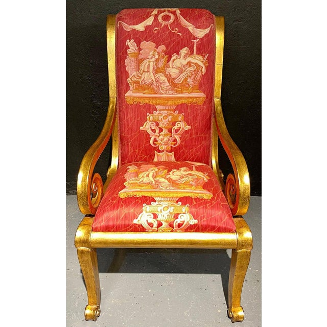 Ten Neoclassical Dining Chairs in Fine Versace Style Fabric For Sale - Image 9 of 12