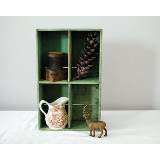 Vintage Mid-Century Rustic Green Wood Box Preview