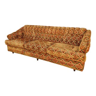 Vintage 1970's Cut Velvet Tufted Back Sofa For Sale