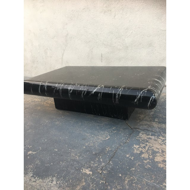 1980s Karl Springer Style Faux Marble Coffee Table - Image 3 of 4