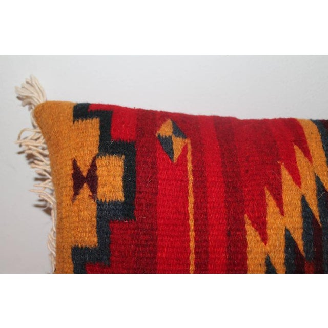1950s Bold Navajo Indian Weaving Pillow with Fringe For Sale - Image 5 of 5
