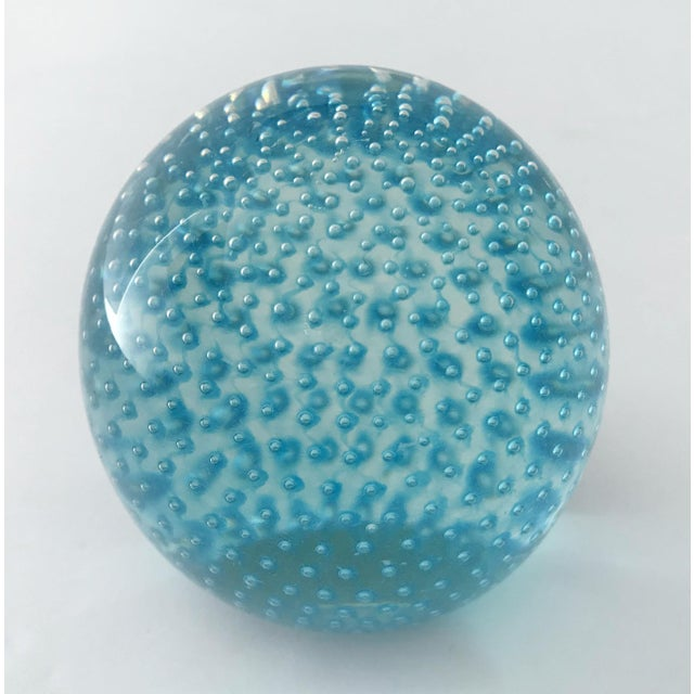 Mid-Century Modern 1960s Blue Bollicine Italian Murano Glass Paperweight For Sale - Image 3 of 7