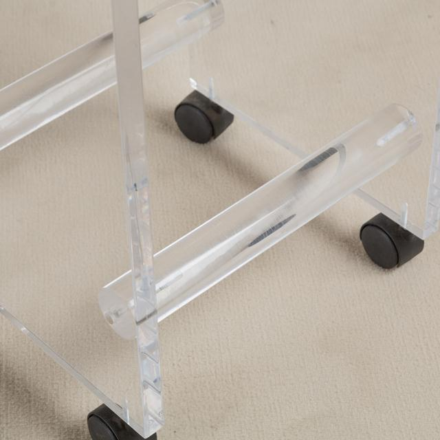 1980s Pair of Lucite Faux Leather Swivel Bar Stools, 1980s For Sale - Image 5 of 7