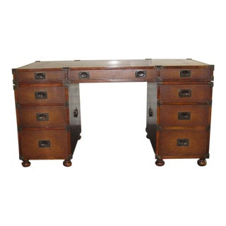 Theodore Alexander Campaign Style Partner Desk For Sale
