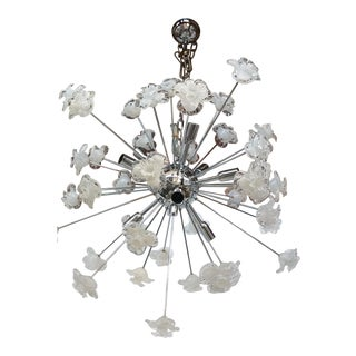 Chandelier Sputnik Murano Glass Flowers Murano White and Trasparent Flowers Murano White and Trasparent For Sale