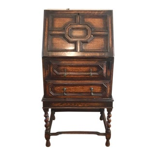1850s Jacobean-Style Walnut Secretary Desk