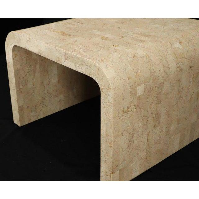 Mid-Century Modern Tessellated Stone Veneer C Shape Side Coffee End Table For Sale - Image 3 of 8