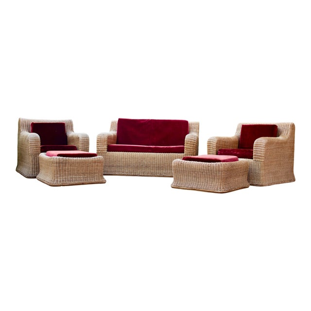 1970s Vintage Scultpural Wicker Seating Set- 5 Pieces For Sale