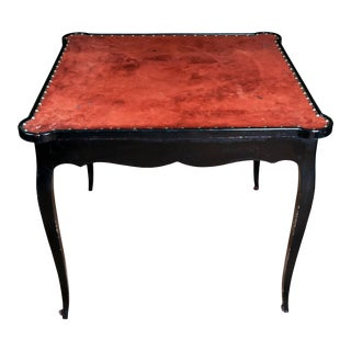 Black Painted Cabriole Leg Games Table with Suede Top and Nailhead Detail For Sale