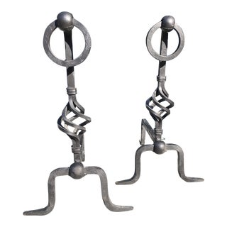 Black Iron Andirons- A Pair For Sale