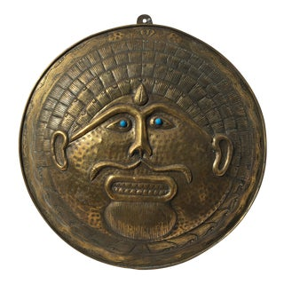 Mid Century Brass Aztec Style Wall Plaque For Sale