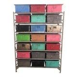 Image of 1970s Industrial Shelf With Multi-Color Drawers For Sale