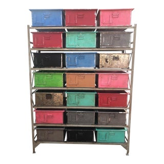 1970s Industrial Shelf With Multi-Color Drawers For Sale