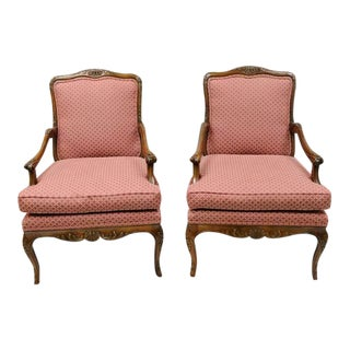 Late 20th Century Country French Louis XV Shell Carved Century Bergere Lounge Arm Chairs- A Pair For Sale