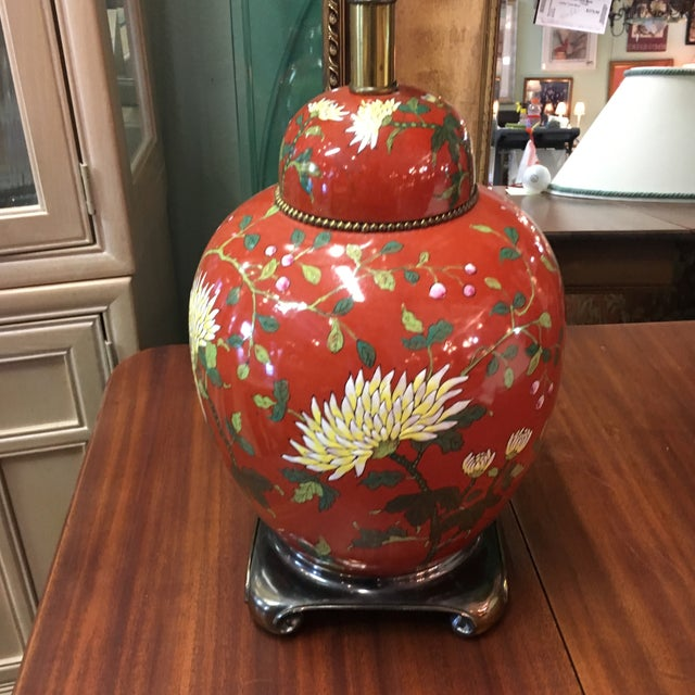 Red East Asian Style Jar Table Lamp - Image 3 of 6