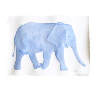 Blue Elephant Original Watercolor Painting For Sale
