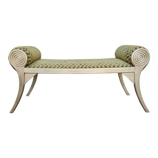 Late 20th Century Klismos Upholstered Bench For Sale