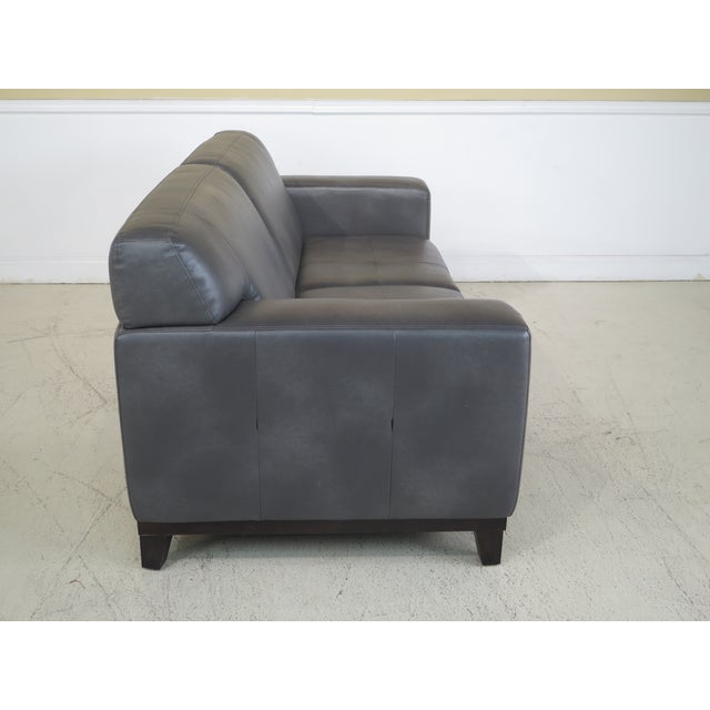 Modern Grey Leather 2 Cushion Sofa For Sale - Image 9 of 11