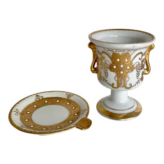 Vintage Italian Gold and Porcelain Cigarette Holder and Ash Tray For Sale