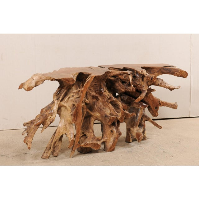 Brown Tropical Hardwood Teak Root Console Table For Sale - Image 8 of 12