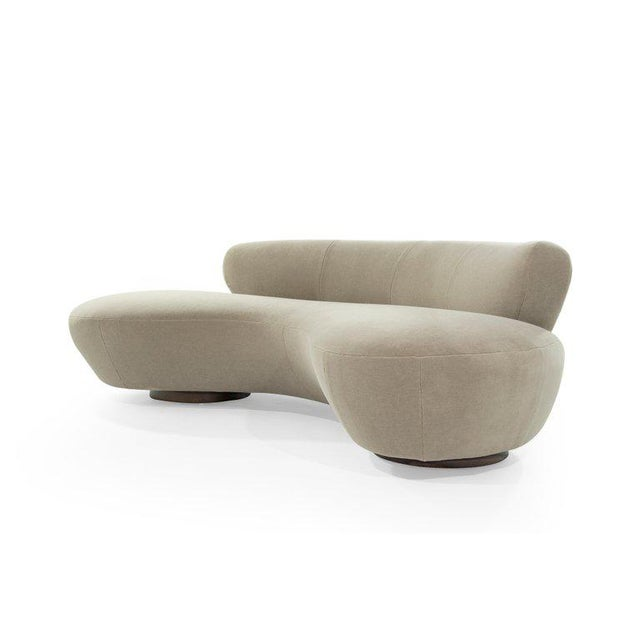 Contemporary Curved Sofa on Walnut Bases by Vladimir Kagan for Directional For Sale - Image 3 of 13