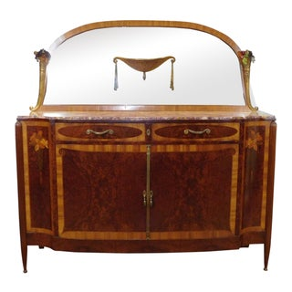 Antique French Marble Top Inlaid Art-Nouveau Palisander Sideboard