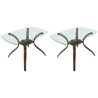 Mid-Century Modern Floating Glass, Brass and Bentwood Side Tables, Pair For Sale