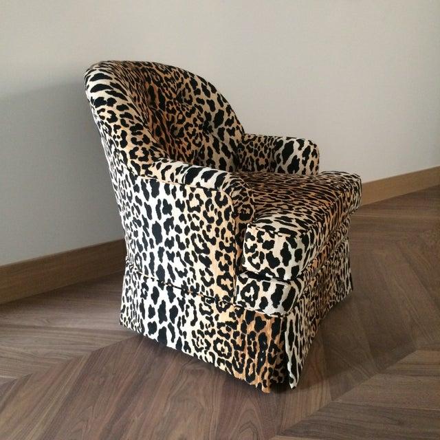 Tufted Leopard Print Velvet Club Chair - Image 4 of 9