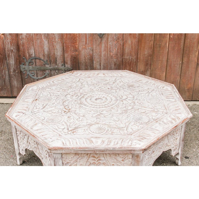 Fruitwood Grand White-Washed Moorish Carved Octagonal Coffee Table For Sale - Image 7 of 9