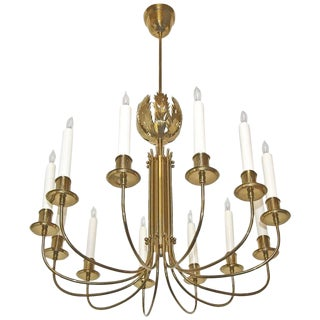 Parzinger Acanthus Leaf Brass Chandelier For Sale