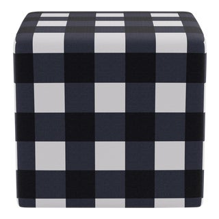 Cube Ottoman in Navy Check For Sale