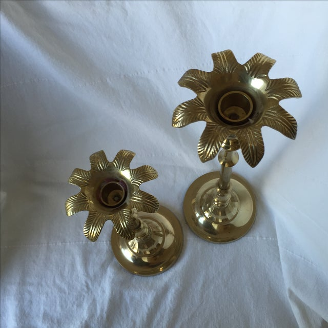Brass Palm Tree Candle Holders - Pair - Image 4 of 9