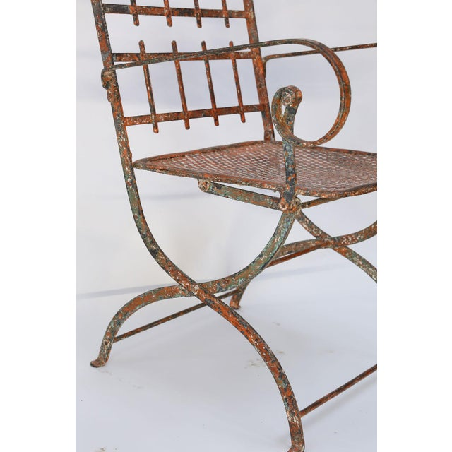 Pair of French Iron Garden Chairs For Sale - Image 10 of 13