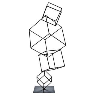 Hand Welded Metal Cubes Table Sculpture For Sale