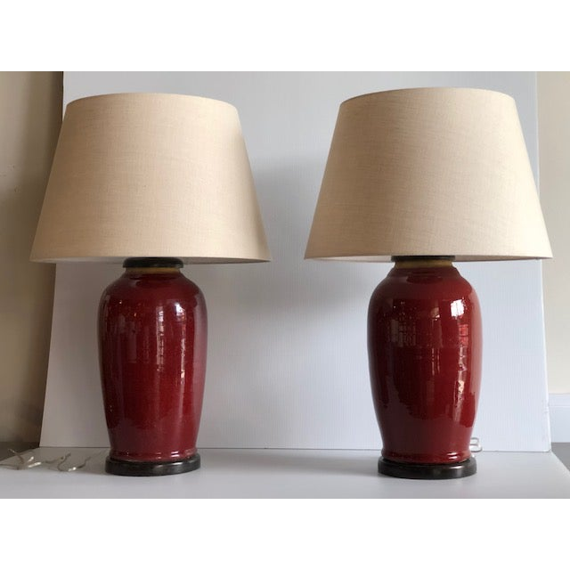 Final Markdown: Chinese Oxblood/Sang De Boeuf Vase Table Lamps – a Pair For Sale In West Palm - Image 6 of 6