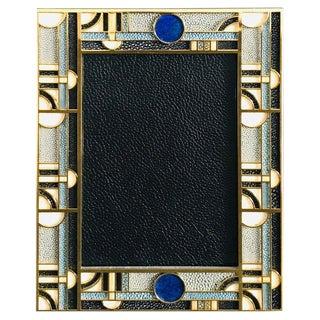 Fabio Ltd Multi-Color Shagreen Gold-Plated Photo Frame For Sale