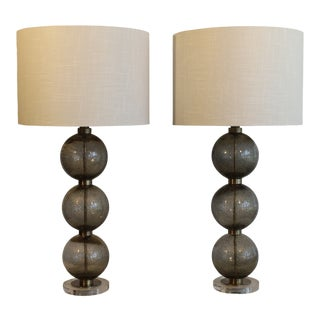 Stacked Murano Table Lamps - a Pair For Sale