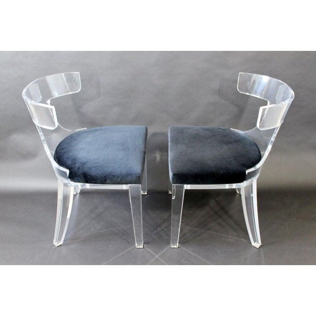 Safavieh Contemporary Modernist Curved Lucite and Velvet Side Accent Side Chairs-a Pair For Sale - Image 4 of 8