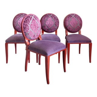 Set of Four Lacquered French Art Deco Chairs