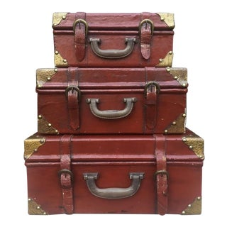 Vintage Style Stackable Display Luggage/Cases - Set of 3 For Sale