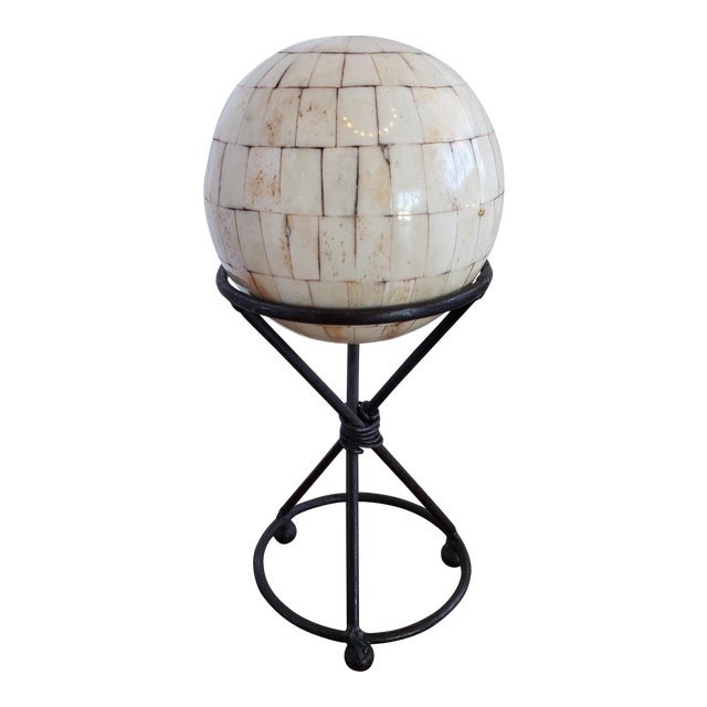 Modern Handmade Shell Stone Mosaic Ball With Stand For Sale