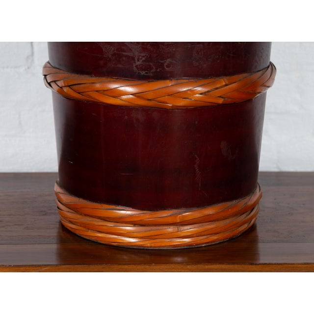 Mid 20th Century Vintage Chinese Wooden Barrel Planter with Rope Design with Red Undertone For Sale - Image 5 of 10